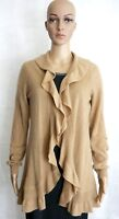 Cashmere by Charter Club Womens Taupe Tan Waterfall Cardigan Sweater Medium