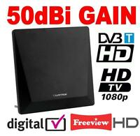 Active Digital Indoor TV Antenna Aerial 50dBi with 4G Filter Ideal for Freeview