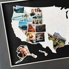 "USA 50 States Photo Map - United States Travel Picture Collage - Black - 24""x36"""
