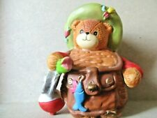 Lucy & Me Fishing Bear in Creel~ Bear Figurine Lucy Rigg Enesco Rare~Euc