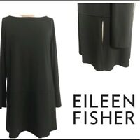 Eileen Fisher Womens Ballet-Neck Tencel Over-sized Tunic Top Size Medium Black