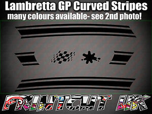 LAMBRETTA GP 125 150 200 curved side panel stripe stickers, ALL COLOURS Lammy