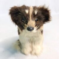 Vintage Dog Figure Collectible Statue Figurine - Life Like Soft Rabbit Fur Hair