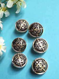"""834B Lovely Buttons """" Mandrake """" Silver And Gold Period Vintage"""