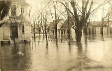 """""""Water Four Feet Deep in the Street"""", Flood at New Harmony IN RPPC"""