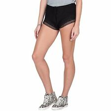 2016 NWT WOMENS VOLCOM COASTIN BABY SHORT $50 S black crochet pull on