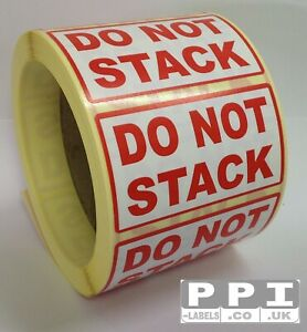 DO NOT STACK Red Packaging Warning Handling Labels Stickers On Roll PKG-04-ROLL