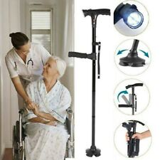Folding Safety Cane Crutch Walking Stick with Safety Alarm and LED Light 1PCS