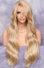 Human Hair Blend Blonde mix wavy Bangs Heat safe Full Wig Hairpiece 27-613 PY