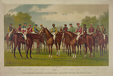 "1889 Horse Racing, Horses, Jockey's antique, Ives, Sports,16""x11  Art Print"