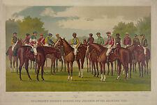 "1889 Horse Racing, Horses,Jockey, antique print, ART, Sports, 24""x16"" CANVAS"