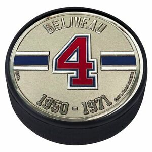 Jean Beliveau Montreal Canadiens 3D Textured Silver Plated Medallion Hockey Puck