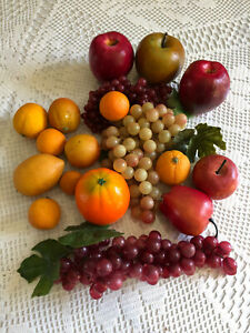 Vintage Faux Fruit Lot Apples Grapes Oranges Lemon Realistic Home Table Decor