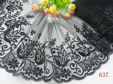 """7""""*1yard delicate  Black embroidered flower tulle lace trim for DIY 637"""