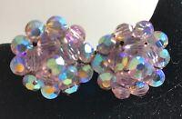 Vintage  AB Pink Large Flower Cluster  Rhinestone Clip-On Earrings