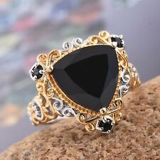 Black Spinel Sterling Silver Platinum & 14KYG Overlay Ring Size 7 TGW 9 cts NWT