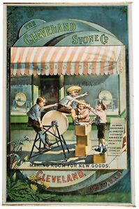 1880s CLEVELAND MILLSTONE / GRINDSTONE COMPANY CHROMOLITHOGRAPH ADVERTISING SIGN