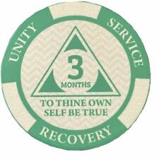 Poker Chip Style Sobriety Chips - Newcomer Coins - 3 Months Green