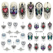 40Pcs Summer Nail Art Tips Colorful Designs Water Transfer Flower Sticker New