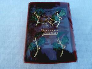 NIB 4 Lenox Holiday Gold Napkin Holder Rings Set Xmas Green Holly/Red Berry 7156