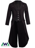 Men's Steampunk Tailcoat Jacket  Gothic Victorian Coat Attached Waistcoat
