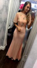 Virgos Lounge Peach Desiree Embellished Party Bridesmaid Prom Maxi Dress 8 to 16