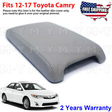Fits 2012-2017 Toyota Camry Leather Center Console Lid Armrest Cover Skin Gray