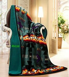 "Navajo Print Throw Blanket Sherpa Southwest Native American Indian 50""x60"""