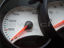 Porsche 911 996 -2001 MPH zu KMH Tachoscheiben CARBON Opt. Gauge Tacho Dial Set