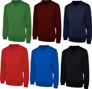 F&F Men's Plain Sweatshirt Raglan V-NECK Jumper Sweater Size 2XL 3XL