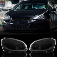 2pcs Headlight Clear Lens Cover For VW MK5 Rabbit Jetta GTI 06-09 R32 08