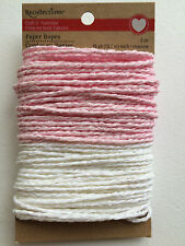 Pink and White Paper Rope String  Gift Wrapping Crafts DIY Breast Cancer Ribbons