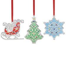 """Lenox """"Merry & Bright Shimmer Set Of 3 Ornaments"""" New In Box"""
