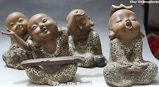 "10"" Chinese Porcelain Ancient Folk Qin Chess Book Draw Tongzi Kid Boy Set Statue"