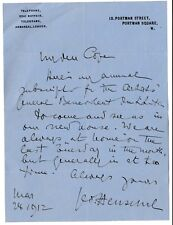 Sir George Henschel - baritone, pianist, conductor, composer - orig. 1912 letter