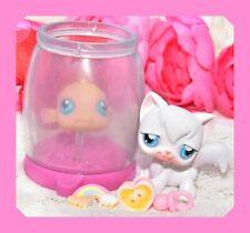 ��Authentic Littlest Pet Shop Lps #9 #10 Longhair Angora Cat & Gold Fish Bowl��