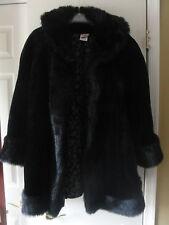 Disney Store Womens LARGE Black Faux Fur Coat Dressy Hook Front
