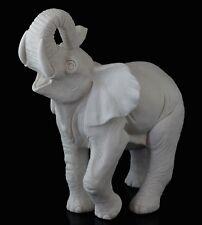 "Elephant White Marble Figurine Russian Art Stone Sculpture Animal Statue 6 3/4"""
