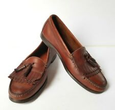 BASS MENS SIZE 11.5 D TASSELL KILT BROWN LEATHER SLIP ON LOAFERS DRESS SHOES