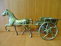 B35 - VINTAGE BRASS PONY & TRAP / HORSE & CART MODEL