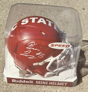 DEVIN LEARY NC State Wolfpack SIGNED Mini Helmet