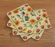 Set of 6 Multi Color Yellow Tone Gardening Drink / Beverage Cork Coasters *READ*