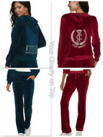 JUICY COUTURE Embellished Velour Hoodie Jacket & Pants Track Suit S-XXL