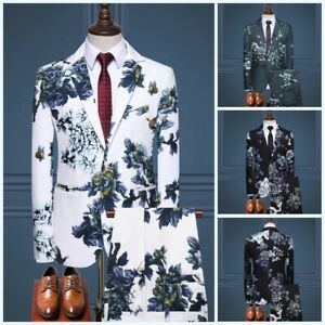Men's Formal Dress Slim Fit Suit 2PCS Blazer Business Party Wedding Groom Casual