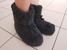 Natural Sheep's Sheepskin Wool Warm Women's Slippers Booties House Shoes