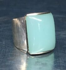 Vintage Mid Century Modern Sterling Silver Geometric Mint Green Chalcedony Ring