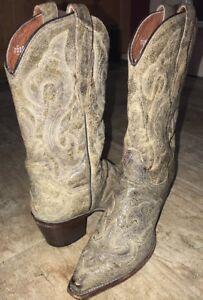 Wms DAN POST EL PASO WESTERN COWGIRL BOOT DP3247 Tan Distressed Leather Sz 8M