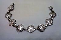 Vintage Sterling Silver Roses Saints bracelet Catholic medals religious