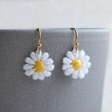 White Daisy Flower Drop Earrings -  Small Lightweight Flower Ear Wires Hooks -UK