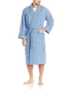 $95 Nautica Men'S Blue Shawl Collar Plaid Woven Robe Sleepwear One Size S/M